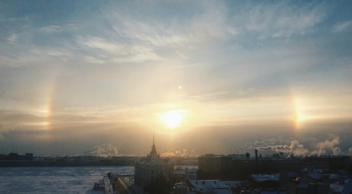Из-за мороза петербуржцы увидели гало вокруг солнца